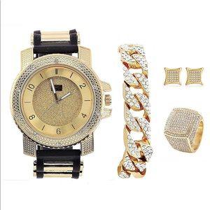 Other - Watch & Jewerly Set w/Cuban Chain Bracelet SPECIAL